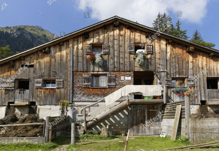 Stock Image of Chalet, Alpe Obere Falz alp near Schetteregg, Egg, Bregenz Forest, Vorarlberg, Austria