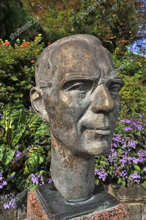Stock Image of Bust of Count Lennart Bernadotte of Wisborg, by artist Waldemar Schröder, Mainau, Baden-Württemberg, Germany