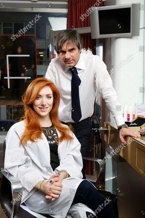 Joanna Della Ragione and celebrity hairdresser Julien Farel at his exclusive Salon on Madison Avenue