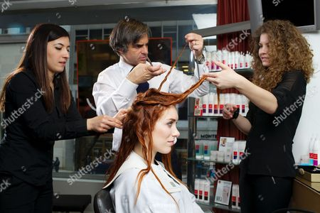 Stock Picture of Joanna Della Ragione and celebrity hairdresser Julien Farel at his exclusive Salon on Madison Avenue