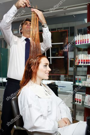 Stock Photo of Joanna Della Ragione and celebrity hairdresser Julien Farel at his exclusive Salon on Madison Avenue