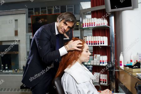 Editorial picture of Journalist Joanna Della Ragione has her hair styled by Julien Farel, Manhattan, New York, America - 25 Mar 2014