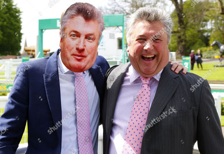 Stock Picture of Racing Uk presenter Ollie Bell with Champion trainer Paul Nicholls Sandown