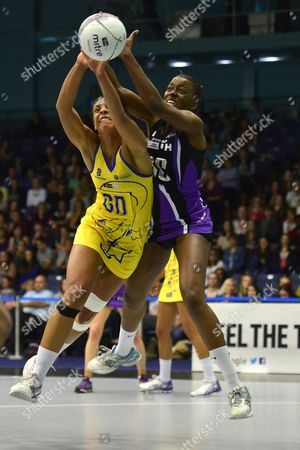 Stock Image of Stacey Francis of Team Bath, left, competes with Vicklyn Joseph of Hertfordshire Mavericks