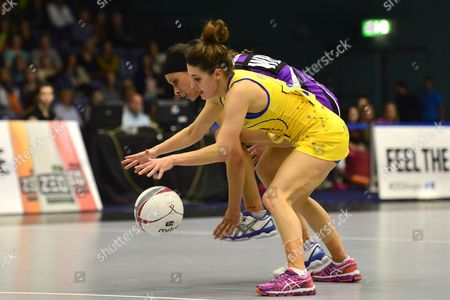Mia Ritchie of Team Bath, foreground, competes with Camilla Buchanan of Hertfordshire Mavericks