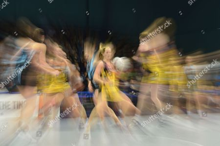 A general view of the match between Surrey Storm and Manchester Thunder. Sara Bayman of ManchesterThunder has the ball - Motion Blur