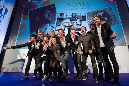 Chef Rene Redzepi celebrates after winning the World's 50 Best Restaurants Award