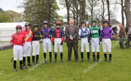 JIM GOLDIE WITH HIS 8 JOCKEYS FOR RACE 2 AT AYR