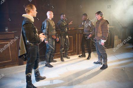 James Hillier (Bedamore), Simon Rhodes (Spinosa), Ashley Zhangazha (Jaffier), Dwane Walcott (Eliot) and Martin Troakes (Renault)