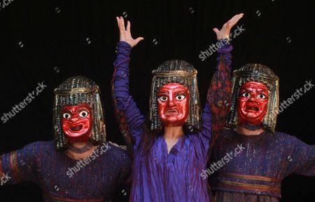 (L-R) Samuel Edward-Cook as Demetrius, Indira Varma as Tamora and Brian Martin as Chiron
