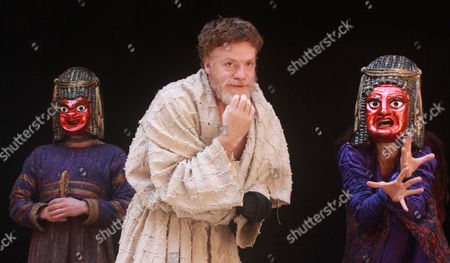 Samuel Edward-Cook as Demetrius, William Houston as Titus Andronicus and Indira Varma as Tamora