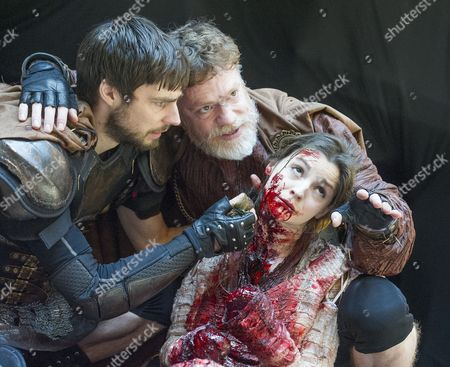 Dyfan Dwyfor as Lucius, Flora Spencer-Longhurst as Lavinia, William Houston as Titus Andronicus
