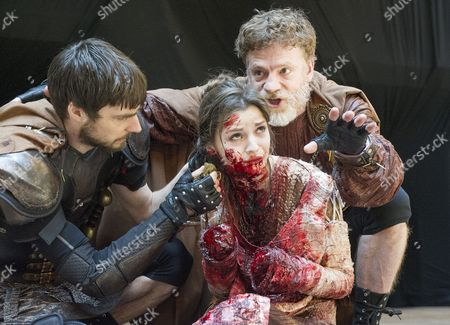 Dyfan Dwyfor as Lucius, Flora Spencer-Longhurst as Lavinia, William Houston as Titus Andronicus,