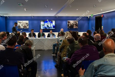 Former QPR player Rodney Marsh, QPR Chairman Tony Fernandes, QPR Managing Director Philip Beard, and QPR COO Mark Donnelly answer questions at a Fan Forum
