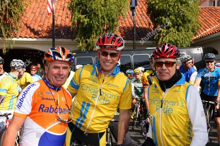 Chairmans Ride raising money for Charity against Cancer, Dutch champion cyclist Hennie Kuiper, Olympic and World Champion, Andrew Messick, CEO of Ironman Corporation and Philip Anschutz owner of AEG (Anschutz Entertainment Group), Tour of California, America