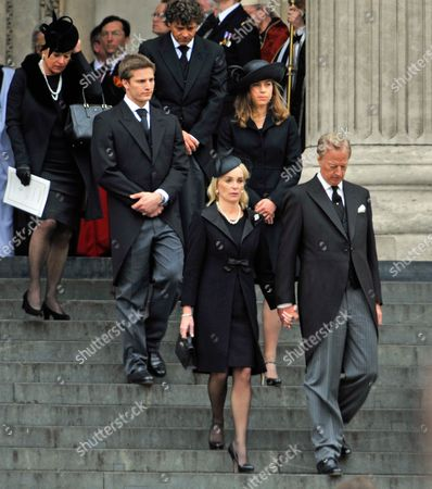 Editorial picture of Mark Thatcher With Wife Sarah-jane And Michael And Amanda With Carol Thatcher (top L) - Funeral Of Baroness Thatcher At St.pauls Cathedral London. Pic Bruce Adams / Copy Unknown- 17/4/13.