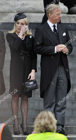 Mark Thatcher With Wife Sarah jane Funeral Of Baroness Thatcher At St. Pauls Cathedral London. 17/4/13.
