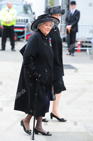 Guests Arrive At The North Entrance Of St Pauls Cathedral In The City Of London For Baroness Thatchers Funeral. London Uk 17/04/2013 Pictured Baroness Betty Boothroyd.