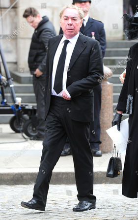 Editorial picture of Guests Arrive At The North Entrance Of St Pauls Cathedral In The City Of London For Baroness Thatchers Funeral. London Uk 17/04/2013 Lord (andrew) Lloyd-webber.