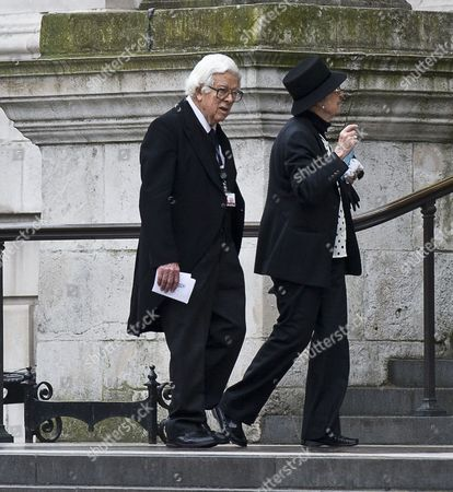 Guests Including Sir Geoffrey Howe Attending The Funeral Of Baroness Thatcher At St Paul's Cathedral In London Attended By Family And Friends And Many Former Parliamentary Colleagues. 17.4.13.