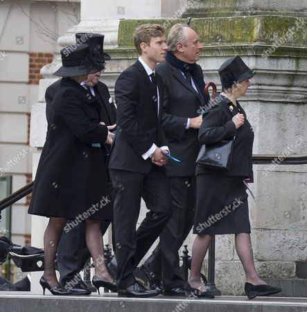Guests Including Daily Mail Editor Paul Dacre (with Scarf) Attending The Funeral Of Baroness Thatcher At St Paul's Cathedral In London Attended By Family And Friends And Many Former Parliamentary Colleagues. 17.4.13.