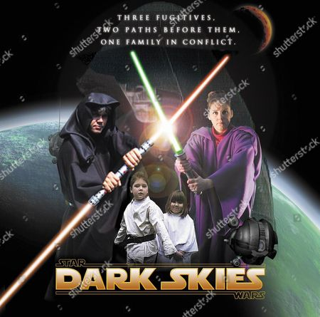GRAPHIC DESIGNER DAVID NUTLEY HAS MADE HIS OWN 18 MINUTE 'STAR WARS' FILM CALLED 'DARK SKIES' USING A DIGITAL CAMERA AND HOME COMPUTER FOR A EFFECTS AND HIS FAMILY AS CAST