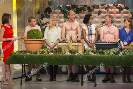 Stock Photo of Andrea McLean, Jo Wood, Jamelia and Jo Joyner with The Grubby Gardeners - Andrew Wain, Andrew Lane, Darran Jacques and Michael Perry.