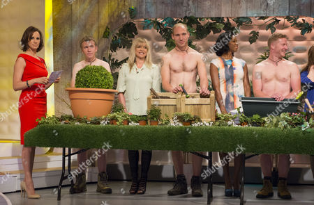 Stock Image of Andrea McLean, Jo Wood and Jamelia with The Grubby Gardeners - Andrew Wain, Andrew Lane, Darran Jacques and Michael Perry.