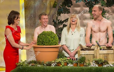 Andrea McLean and Jo Wood with The Grubby Gardeners - Andrew Wain, Andrew Lane, Darran Jacques and Michael Perry.