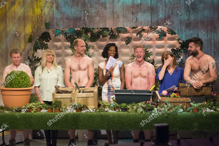 Jo Wood, Jamelia and Jo Joyner with The Grubby Gardeners - Andrew Wain, Andrew Lane, Darran Jacques and Michael Perry.