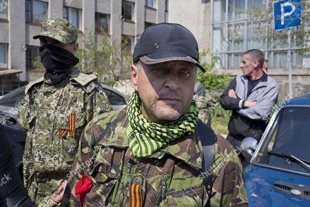 Self declared mayor Vyacheslav Ponomarev seen at the seized town hall of Sloviansk minutes after OSCE hostages are freed