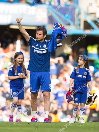 Stock Picture of Frank Lampard of Chelsea with his two daughters Isla Lampard and Luna Lampard