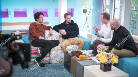 Stock Image of Dustin-Demri Burns and Seb Cardinal with Tim Lovejoy and Simon Rimmer