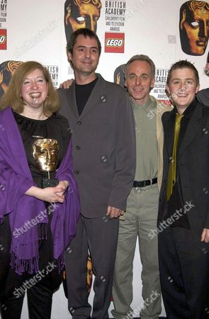 GAIL RENARD, GEORGE MCMAHAN (3RD FROM L) AND MICHAEL MCGOWAN (R) (CUSTER'S LAST STAND) DRAMA AWARD WINNER WITH NEIL MORRISSEY