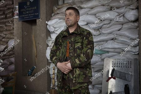 Vyacheslav Ponomarev, self proclaimed mayor of the eastern Ukraine city of Sloviansk, in the occupied building of City Hall