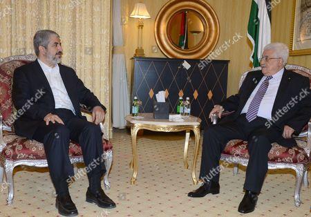 Editorial picture of Mahmoud Abbas meets Khaled Meshaal, Doha, Qatar - 05 May 2014