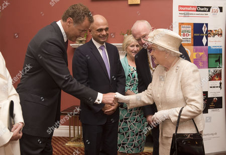 Stock Picture of Queen Elizabeth II with Lord Rothermere, President, Journalists' Charity, Sajid Javid, Culture Secretary, Tom Hempenstall, Master of Stationers' Company