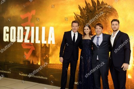 Bryan Cranston, Elizabeth Olsen, director Gareth Edwards and Aaron Taylor-Johnson