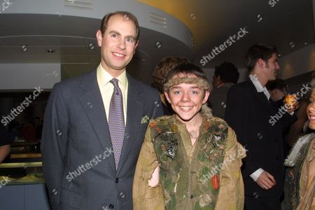 HRH PRINCE EDWARD MEETS THE NATIONAL YOUTH THEATRE CAST BACKSTAGE