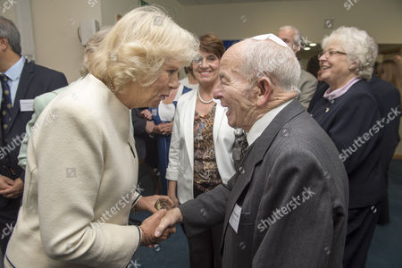 Camilla Duchess of Cornwall meeting Colin Dexter OBE at the Nuffield Orthopaedic Centre Charity