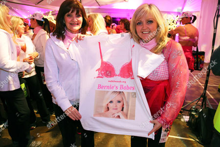 Stock Photo of Linda Nolan and Anne Nolan of the Nolans with a T shirt showing their sister Bernie who died of breast cancer last year