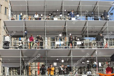 News Cameras covering the abdication of Queen Beatrix and handing over the throne to Crown Prince Willem Alexander.