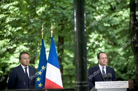 (LtoR) French President of the Senate Jean-Pierre Bel, and French President Francois Hollande