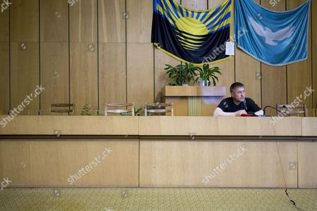 Self proclaimed Mayor of Sloviansk Vyacheslav Ponomarev at the seized town hall
