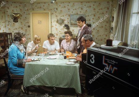 Maggie Jones, Cheryl Hall, Peter Armitage, Pat Heywood, David Jason and Glynn Edwards