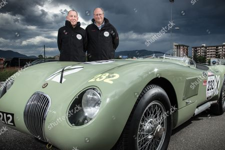 Stock Image of Andy Wallace and Richard Frankel with their Jaguar C-Type