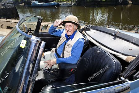 Editorial photo of Trevor Baylis with his Jaguar E type in Twickenham, London, Britain - 16 May 2014