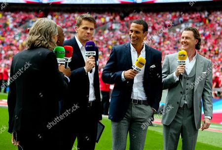 The BT Sport pundits work pitchside, from l-r: Jimmy Bullard, Ian Wright, Jake Humphries, Rio Ferdinand and Steve McManaman