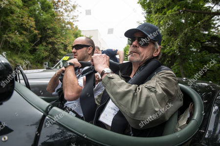 Jeremy Irons and Charlie Turner driving Jaguar XK 120 (2nd leg) Montegrotto to Rome