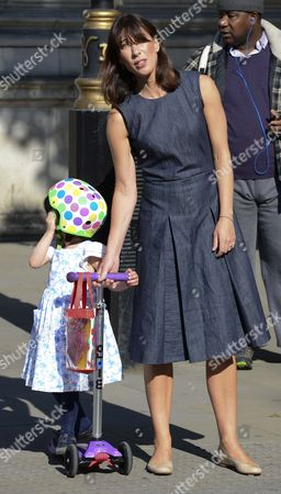 Samantha Cameron does the school run this morning seen here in Whitehall on the way to Nursery at the Commons with Florence Cameron